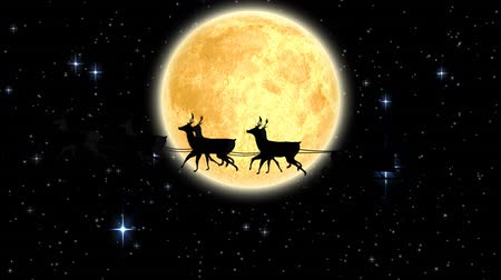 légköri : Animation of Santa Claus in sleigh being pulled by reindeers and moon at night