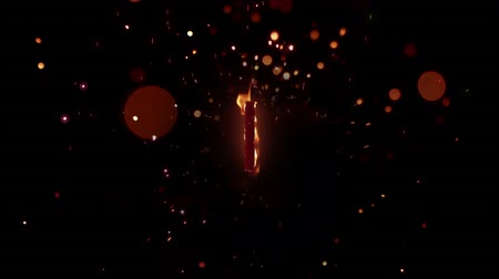 chamejante : Animation of the number 1 in flames on a black background