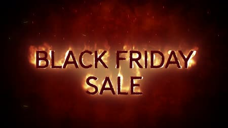 благодарение : Animation of the words Black Friday Sale in flames on a black background