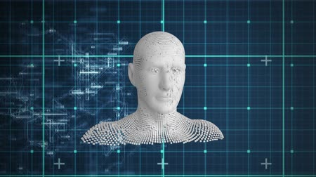 biust : Animation of moving human bust formed from grey particles and data processing on a grid and dark blue background