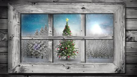 jodła : Animation of winter scenery seen through window, with snowfall and Christmas tree