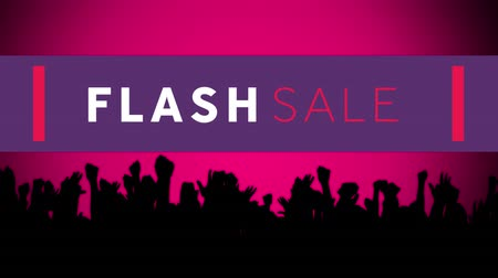 obniżka : Animation of the words Flash Sale in white and pink letters on a purple banner and black silhouette of clapping people on a pink background