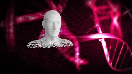 бюст : Animation of moving human bust formed from grey particles with glowing pink DNA strands on a black background Стоковые видеозаписи