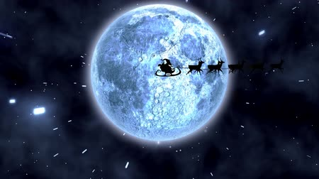 sob : Animation of winter scenery at night with Santa Claus in sleigh being pulled by reindeers, stars and moon Dostupné videozáznamy