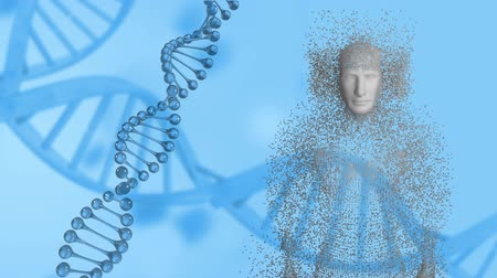 прядь : Animation of spinning 3d DNA strand with human body formed from grey particles on a blue background Стоковые видеозаписи