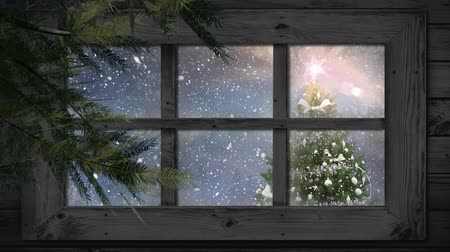 рождество : Animation of winter scenery seen through window, with snowfall and Christmas tree