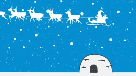 igloo : Animation of a white silhouette of Santa Claus in sleigh being pulled by reindeers on a blue background Stock Footage