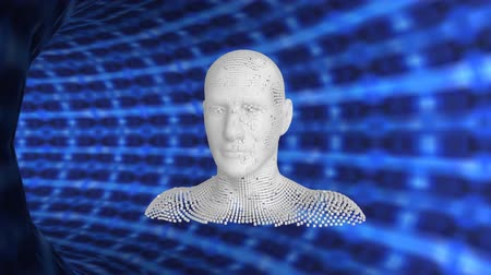 бюст : Animation of moving human bust formed from grey particles in a glowing blue mesh tunnel
