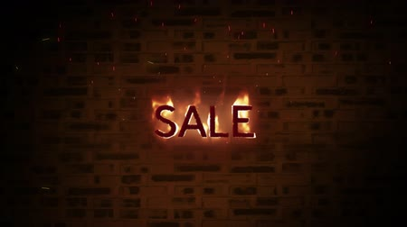 desenli : Animation of the word Sale in flames on a patterned background