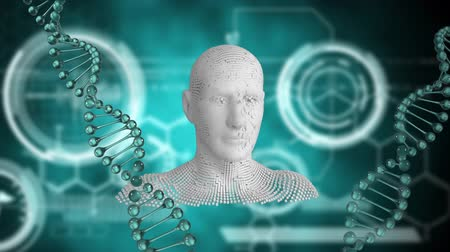 geny : Animation of spinning 3d DNA strands with human head appearing and disappearing and white circles on a green background