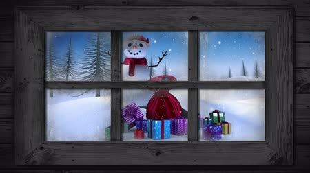 légköri : Animation of winter scenery seen through window, with snowfall, presents, snowman and fir trees