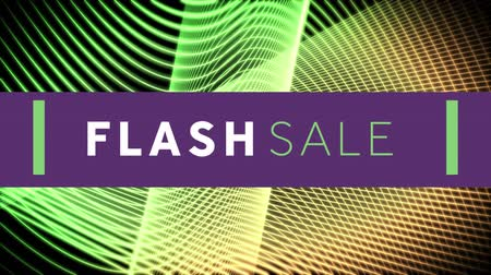 flash sale : Animation of the words Flash Sale in white and green letters on a purple banner with curved lines in the background Stock Footage