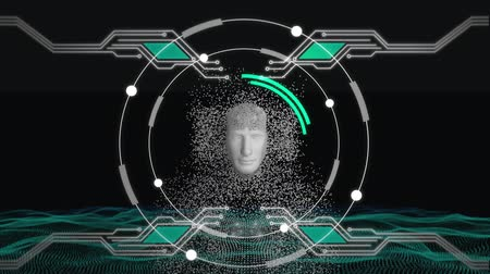biust : Animation of human bust formed from grey particles with rotating circles and elements of computer circuit board on a black background