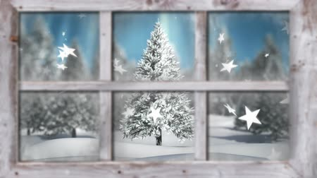 sfeervol : Animation of winter scenery seen through window, with snowfall, stars falling and a Christmas tree