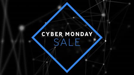 segunda feira : Animation of the words Cyber Monday Sale in white and blue letters in a blue frame with network connections on a black background