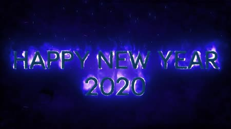 bin : Animation of the words Happy New Year 2020 in flames on a blue background