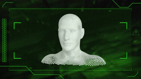 biust : Animation of human bust formed from grey particles on a green background
