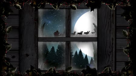 sob : Animation of winter scenery seen through window, with Santa Claus in sleigh being pulled by reindeers, snowfall, moon and fir trees