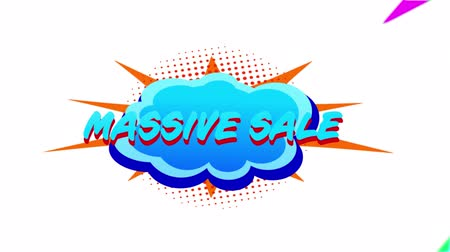 maciço : Animation of the words Massive Sale in turquoise and red letters on a turquoise cloud with colourfulï¿'ï¾ graphicï¿'ï¾ lightning flashes and shapes on a white background