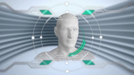 układ scalony : Animation of moving human bust formed from grey particles with rotating circles and elements of a circuit board with lines in the background Wideo