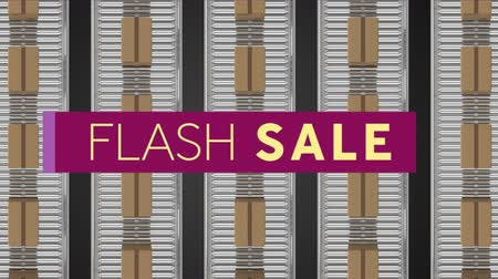 flash sale : Animation of the words Flash Sale in cream letters on a dark pink banner with an overhead view of movingï¿'ï¾ parcels on conveyor belts in background Stock Footage