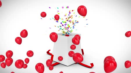 eighteen : Animation of the number 18 in red bursting out of a white gift box with a red ribbon, with floating shiny red balloons on a white background