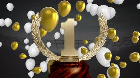 podyum : Animation of a gold 1st place trophy with white and gold balloons floating at a sports stadium