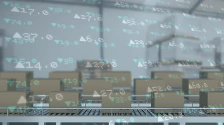 visão global : Animation of cardboard boxes moving on conveyor belts with trading statistics in the background