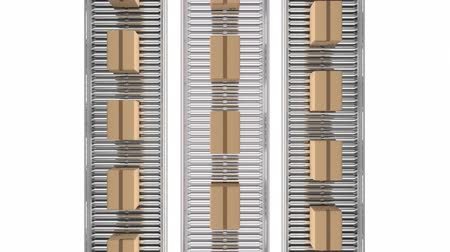 poczta : Animation of overhead view of rows of cardboard boxes moving on conveyor belts