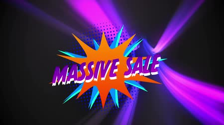 maciço : Animation of the words Massive Sale in purple letters on an orange and blue explosion with movingï¿'ï¾ pink lights on a black background