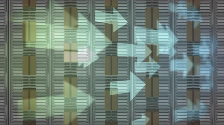 idéia genial : Animation of white arrows passing over overhead view of rows of cardboard boxes moving on conveyor belts