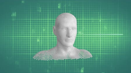 biust : Animation of moving human bust formed from grey particles with moving particles on grid and light green background