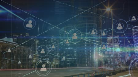 global market : Animation of network of connecting people icons with cityscape in the background Stock Footage