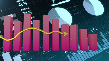 graph : Animation of a pink block graph and gold arrow showing growth on a dark background with moving charts and data Stock Footage
