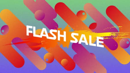 flash sale : Animation of the words Flash Sale in white letters on movingï¿'ï¾ yellow, orange and purple capsule and circle shapes on a soft green background