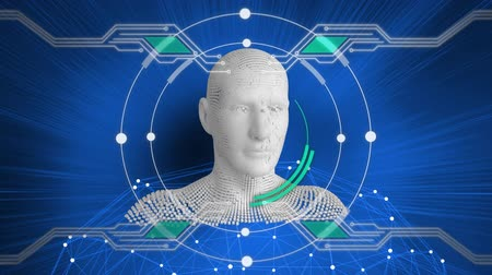 busto : Animation of moving human bust formed from grey particles with rotating circles, elements of a circuit board and data processing on a blue background Archivo de Video