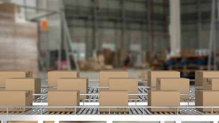poczta : Animation of rows of cardboard boxes moving on conveyor belts in a warehouse