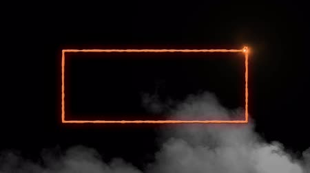 négyszögletes : Animation of a rectangular frame in flames and clouds of smoke on a black background Stock mozgókép