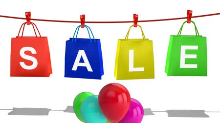 varal : Animation of the word Sale in single white letters on a red, a blue, a yellow and a green shopping bag pegged in a row hanging on a red clothesline with a bunch of colourful balloons floating in the foreground, on a white background