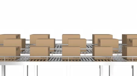 양산 : Animation of rows of cardboard boxes moving on conveyor belts in a warehouse