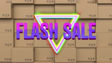 flash sale : Animation of the words Flash Sale in pink and purple letters on a glowing line triangle with movingï¿'ï¾ colourful triangles on a background of stacked cardboard boxes