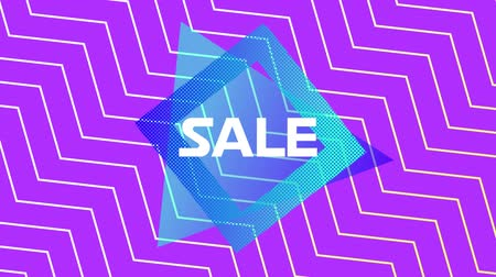 zigzag : Animation of the word Sale in white letters on a blue traingle and square with movingï¿'ï¾ white zigzag pattern on a purple background