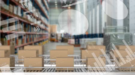 visão global : Animation of rows of cardboard boxes on conveyor belts in a warehouse with moving charts and graphs in the foreground
