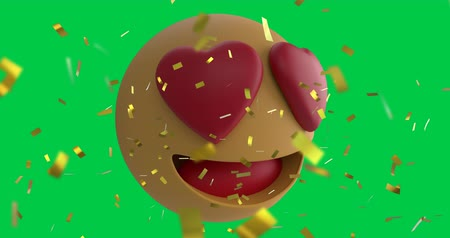 lol : Animation of a love emoji icon with heart eyes on a green screen background with falling gold confetti 4k Stock Footage