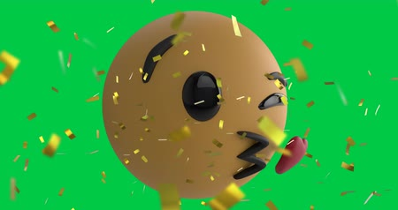 risonho : Animation of an emoji icon blowing a heart kiss on a green screen background with falling gold confetti 4k Vídeos