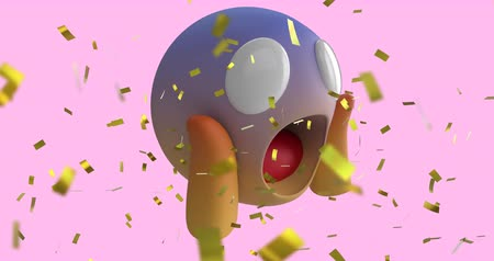 emoticon : Animation of a scream emoji icon on a pink background with falling gold confetti 4k