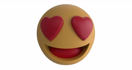 lol : Animation of a love emoji icon with heart eyes on a white background 4k Stock Footage