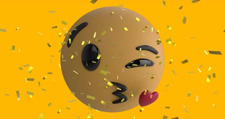 risonho : Animation of an emoji icon blowing a heart kiss on a yellow background with falling gold confetti 4k