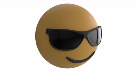 emoticon : Animation of a nodding smiling emoji icon wearing sunglasses on a white background 4k