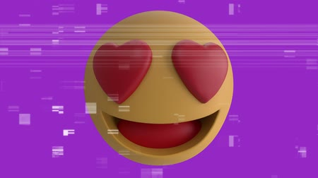emoticon : Animation of a love emoji icon with heart eyes on a purple background with interference
